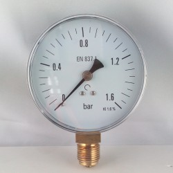 Dry pressure gauge 1,6 Bar diameter dn 100mm bottom