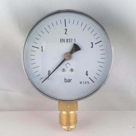 Dry pressure gauge 4 Bar diameter dn 100mm bottom