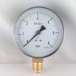 Dry pressure gauge 6 Bar diameter dn 100mm bottom