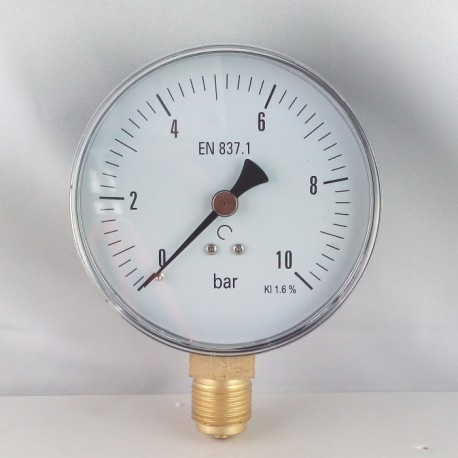 Dry pressure gauge 10 Bar diameter dn 100mm bottom