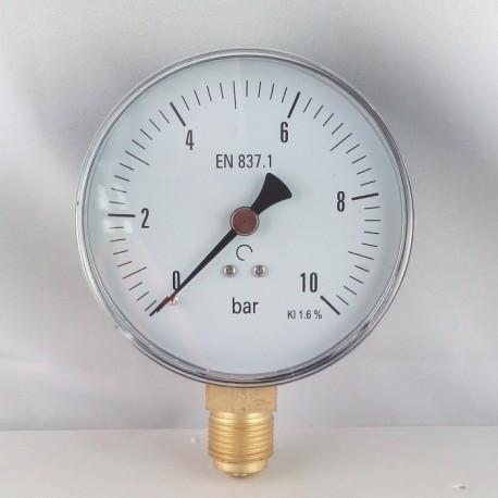 Dry pressure gauge 10 Bar diameter dn 100mm bottom