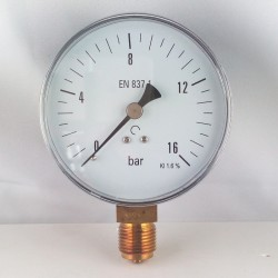 Dry pressure gauge 16 Bar diameter dn 100mm bottom