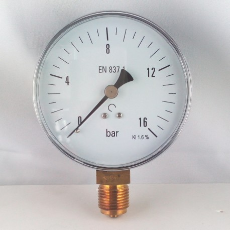 Dry pressure gauge 16 Bar diameter dn 100mm bottom