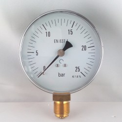 Dry pressure gauge 25 Bar diameter dn 100mm bottom