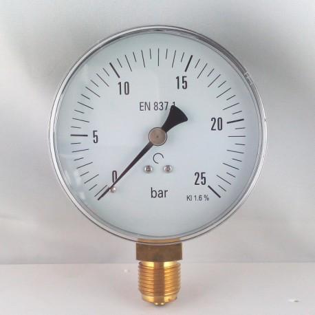 Dry pressure gauge 25 Bar diameter dn 100mm bottom