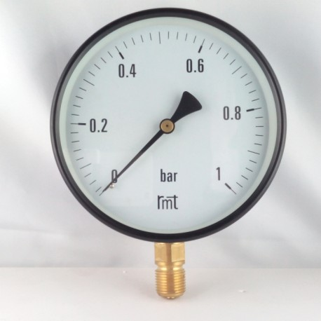 "Dry pressure gauge 1 Bar diameter dn 150mm 1/2""Bsp bottom"