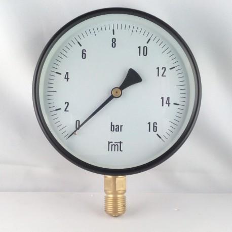 "Dry pressure gauge 16 Bar diameter dn 150mm 1/2""Bsp bottom"