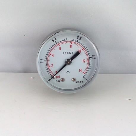 "Dry pressure gauge 1 Bar diameter dn 50mm back 1/4""Bsp"