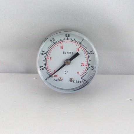 "Dry pressure gauge 1,6 Bar diameter dn 50mm back 1/4""Bsp"