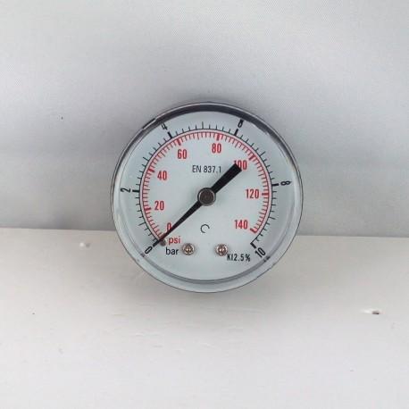 "Dry pressure gauge 10 Bar diameter dn 50mm back 1/4""Bsp"