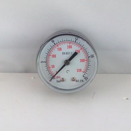 "Dry pressure gauge 25 Bar diameter dn 50mm back 1/4""Bsp"