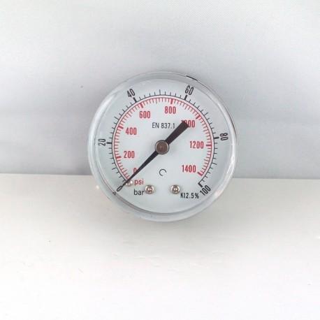 "Dry pressure gauge 100 Bar diameter dn 50mm back 1/4""Bsp"