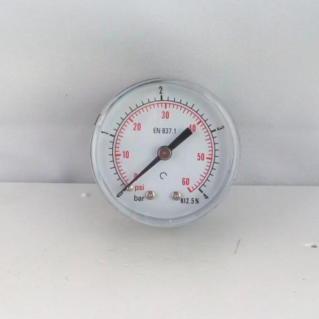 "Dry pressure gauge 4 Bar diameter dn 50mm back 1/8""Bsp"