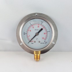 2,5 Bar glycerine filled pressure gauge 63 wall flange dn 63mm