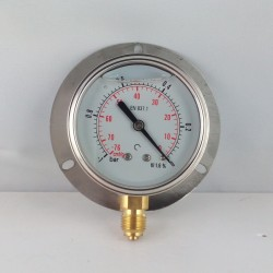 -1 Bar glycerine filled vacuum gauge 63 wall flange dn 63mm