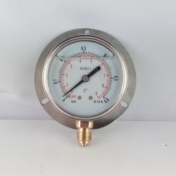 0,6 Bar glycerine filled pressure gauge 63 wall flange dn 63mm