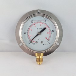 1 Bar glycerine filled pressure gauge 63 wall flange dn 63mm