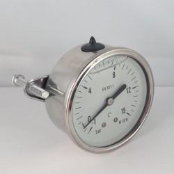 -1+15 Bar glycerine filled compound gauge u-clamp diameter dn 63mm