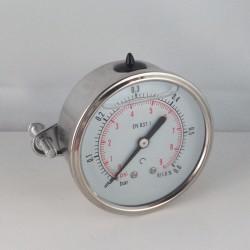 0,6 Bar glycerine filled pressure gauge u-clamp diameter dn 63mm