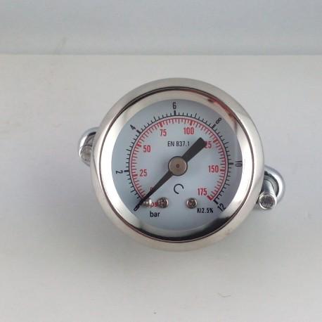 Dry pressure gauge 12 Bar diameter dn 40mm u-clamp
