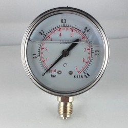 Glycerine filled pressure gauge 0,6 Bar diameter dn 63mm bottom