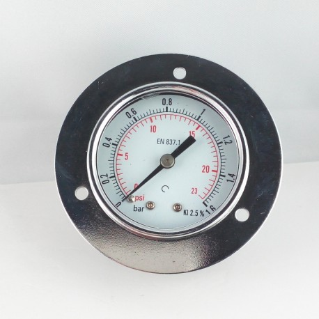 Dry pressure gauge 1,6 Bar diameter dn 50mm front flange