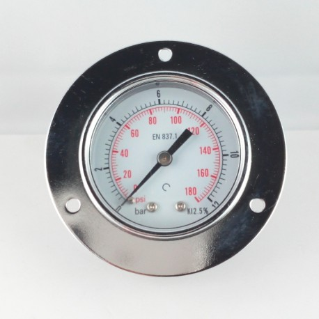 Dry pressure gauge 12 Bar diameter dn 50mm front flange