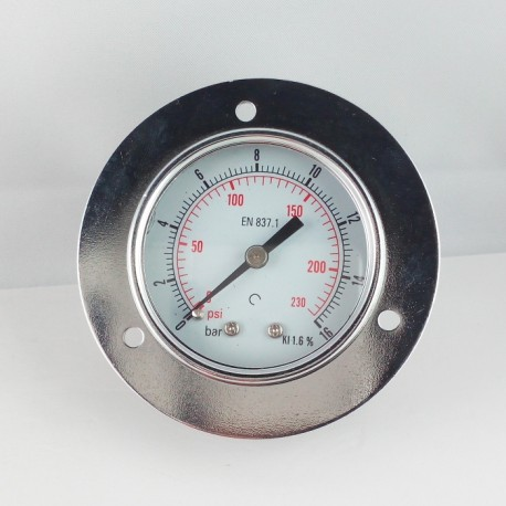 Dry pressure gauge 16 Bar diameter dn 50mm front flange