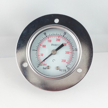 Dry pressure gauge 25 Bar diameter dn 50mm front flange