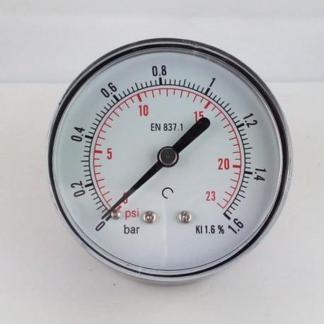 Dry pressure gauge 1,6 Bar diameter dn 63mm back