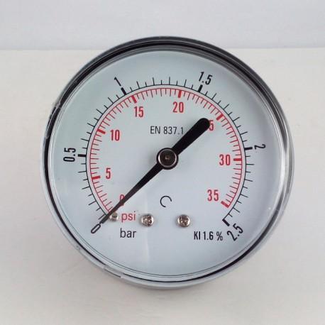 Dry pressure gauge 2,5 Bar diameter dn 63mm back