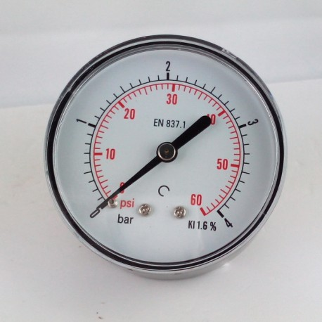 Dry pressure gauge 4 Bar diameter dn 63mm back