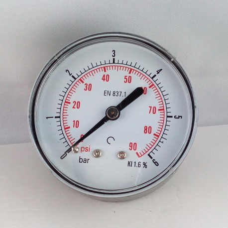 Dry pressure gauge 6 Bar diameter dn 63mm back