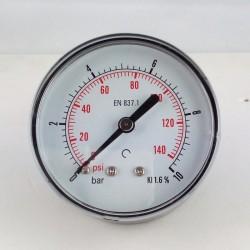 Manometro 10 Bar diametro dn 63mm posteriore