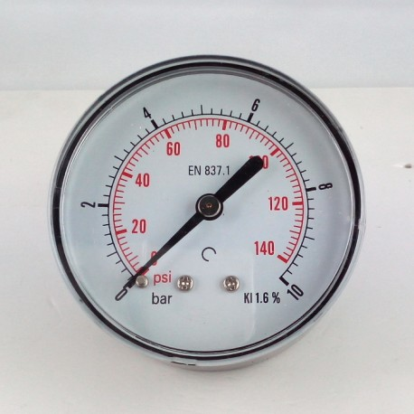 Dry pressure gauge 10 Bar diameter dn 63mm back