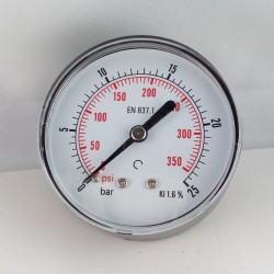 Dry pressure gauge 25 Bar diameter dn 63mm back