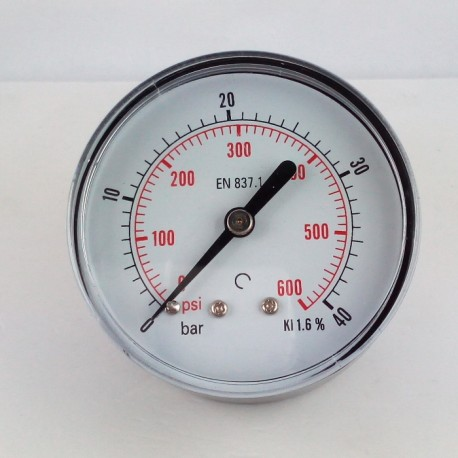 Dry pressure gauge 40 Bar diameter dn 63mm back