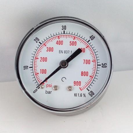 Dry pressure gauge 60 Bar diameter dn 63mm back