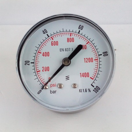 Dry pressure gauge 100 Bar diameter dn 63mm back