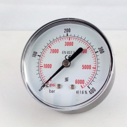 Dry pressure gauge 400 Bar diameter dn 63mm back