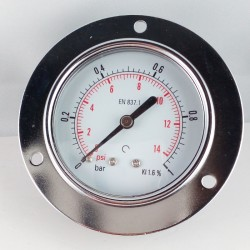Dry pressure gauge 1 Bar diameter dn 63mm front flange