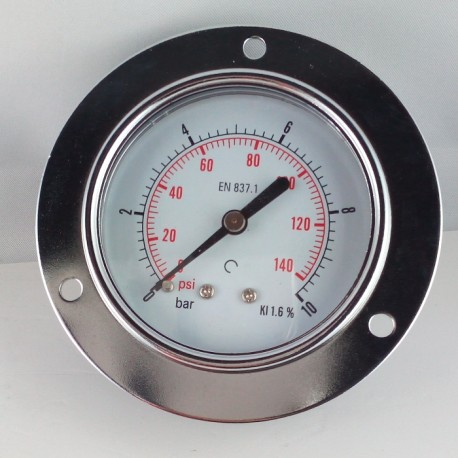 Dry pressure gauge 10 Bar diameter dn 63mm front flange