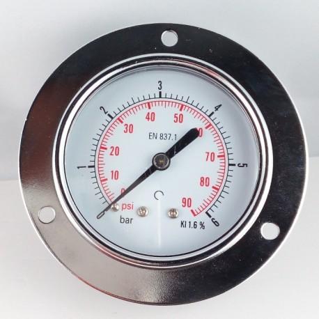 Dry pressure gauge 6 Bar diameter dn 63mm front flange