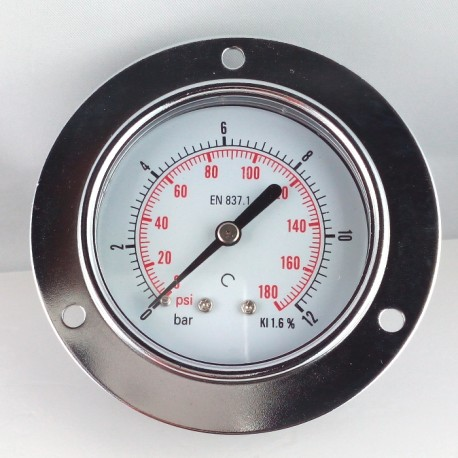 Dry pressure gauge 12 Bar diameter dn 63mm front flange