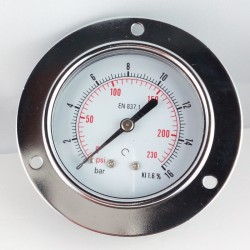 Dry pressure gauge 16 Bar diameter dn 63mm front flange