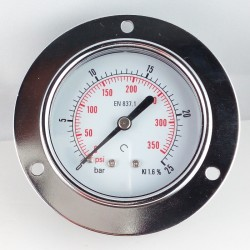 Dry pressure gauge 25 Bar diameter dn 63mm front flange