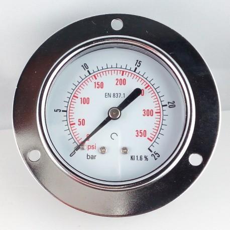 Dry pressure gauge 25 Bar diameter dn 63mm front flange