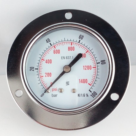 Dry pressure gauge 100 Bar diameter dn 63mm front flange