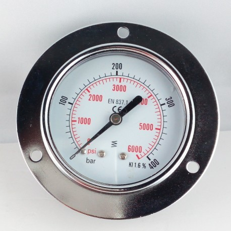 Dry pressure gauge 400 Bar diameter dn 63mm front flange