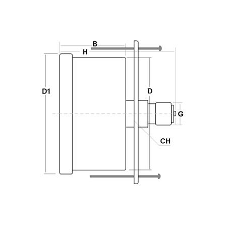 Dry pressure gauge 1 Bar diameter dn 63mm u-clamp